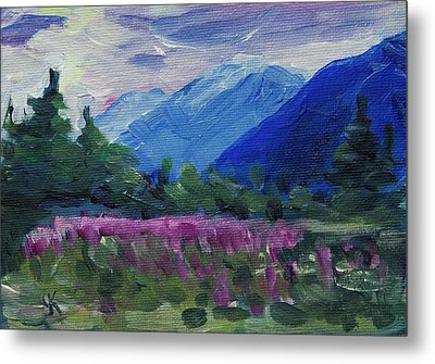 Metal Print featuring the painting Fireweed At Outer Point Alaska by Yulia Kazansky