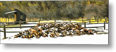 Metal Print featuring the photograph  Floyd Snyder by Firewood in the Snow at Fort Tejon
