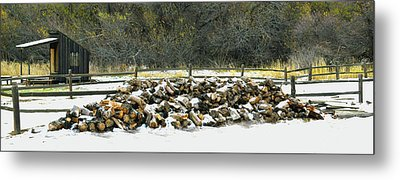 Metal Print featuring the photograph Firewood In The Snow At Fort Tejon by Floyd Snyder