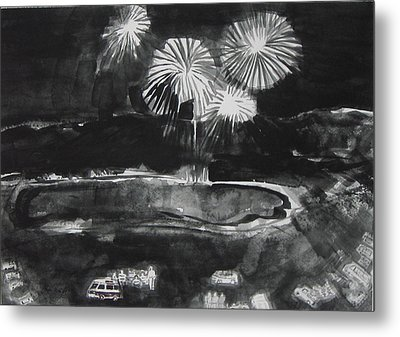 Fireworks At Eagle Nest Lake...0oohh..aahh.. Metal Print by Laurie Hill Phelps