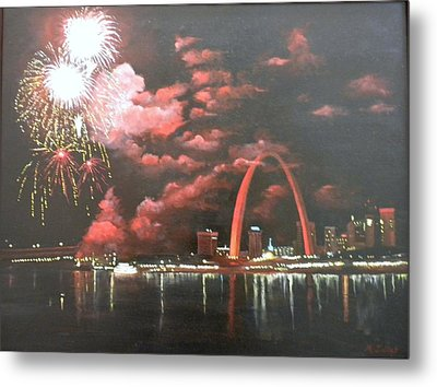 Fireworks At The Arch Metal Print