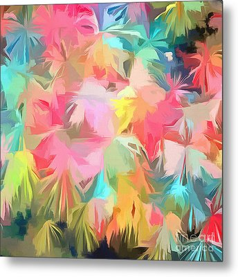 Fireworks Floral Abstract Square Metal Print