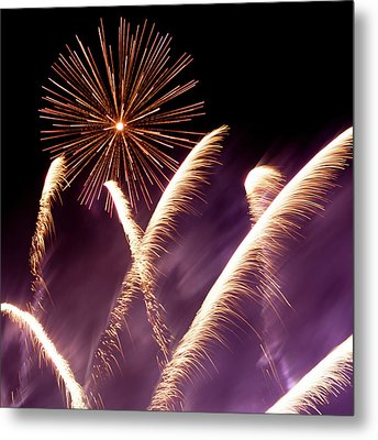 Fireworks In The Night Metal Print