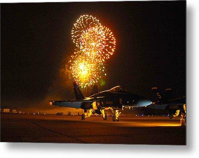 Fireworks Over Fa-18 Hornet Us Navy Metal Print