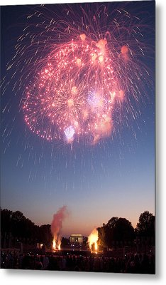 Fireworks Over Lincoln Metal Print by Colleen Joy