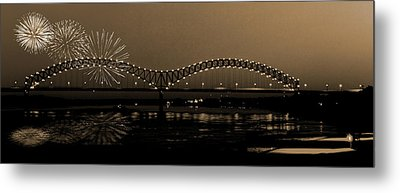 Fireworks Over The Mississippi Metal Print