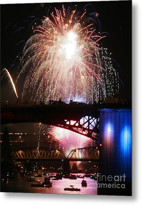 Fireworks Over The River Metal Print by Keith Dillon