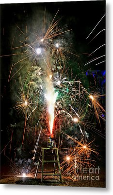 Metal Print featuring the photograph Fireworks by Vivian Krug Cotton