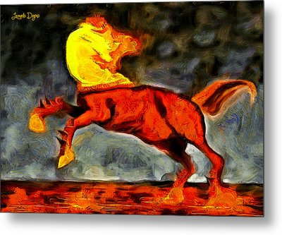 Firing Head Horse - Da Metal Print by Leonardo Digenio