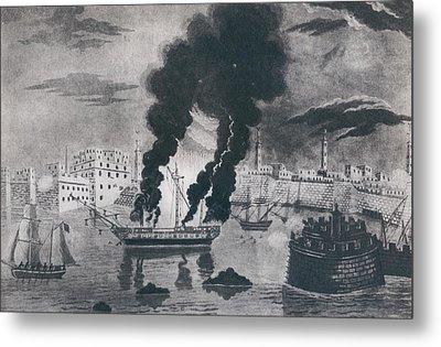 First Barbary War 1801-1805. Burning Metal Print by Everett