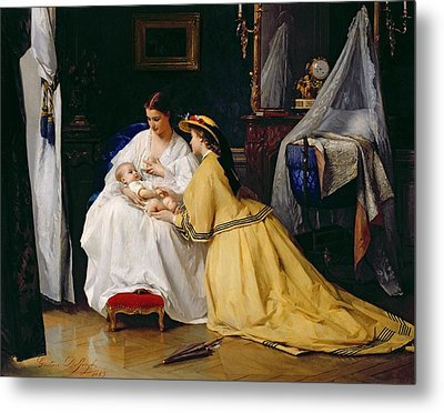 First Born Metal Print by Gustave Leonard de Jonghe