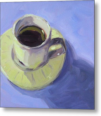 Metal Print featuring the painting First Cup by Nancy Merkle