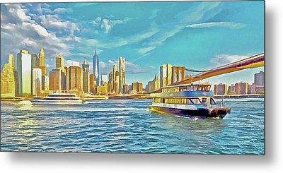 First East River Ferry Of The Day Metal Print