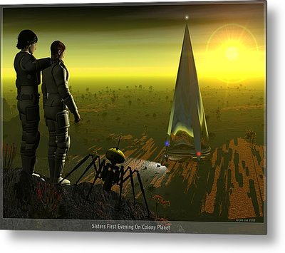 First Evening On Colony Planet Metal Print by Jim Coe