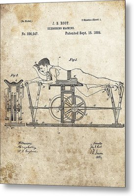 First Exercise Machine Patent Metal Print by Dan Sproul