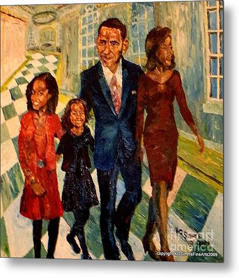 First Family Obama's Metal Print by Keith OBrien Simms