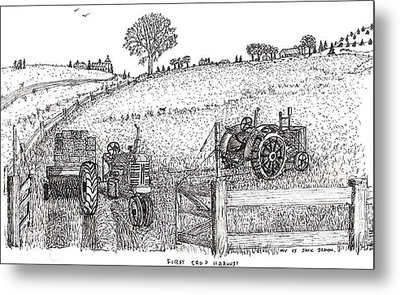 Metal Print featuring the drawing First Hay Crop by Jack G  Brauer