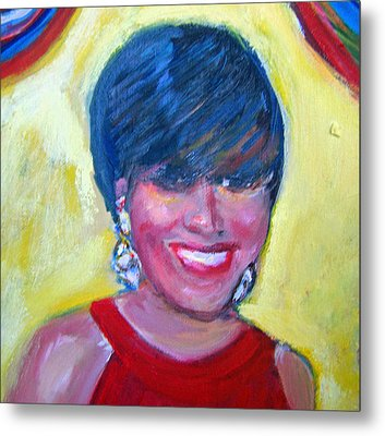 First Lady In Red Metal Print by Patricia Taylor