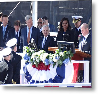 First Lady Michelle Obama At The Christening Of The Illinois Ssn 786 Metal Print by Gina Sullivan