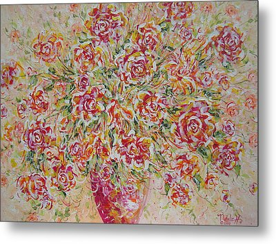 Metal Print featuring the painting First Love Flowers by Natalie Holland