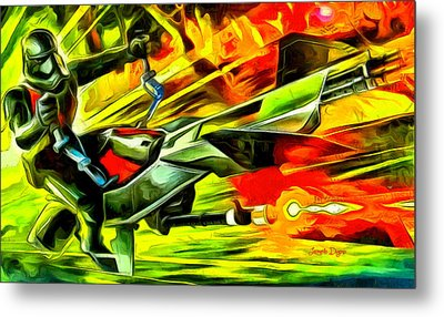 First Order Combat Speeder  - Van Gogh Style -  - Da Metal Print by Leonardo Digenio