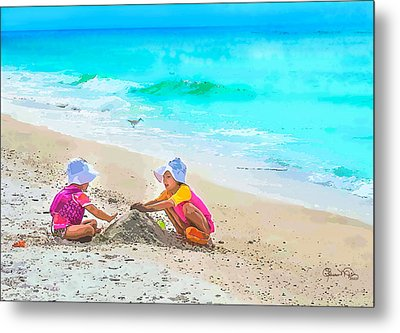 First Sand Castle Metal Print by Susan Molnar