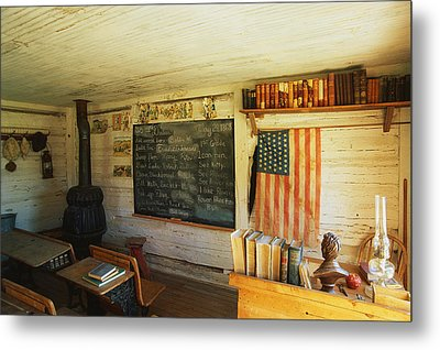 First School In Montana Metal Print by Panoramic Images