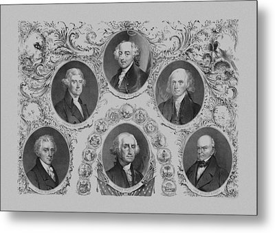 First Six U.s. Presidents Metal Print by War Is Hell Store