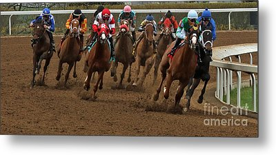 First Turn At Keeneland Metal Print by Angela G