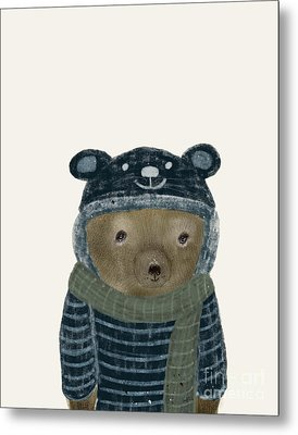 Metal Print featuring the painting First Winter Bear by Bri B