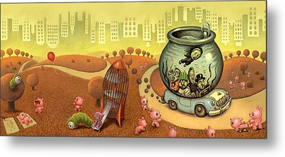 Fish Circus - Landscape Metal Print by Luis Diaz