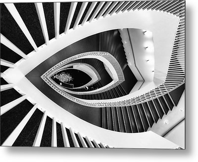 Fish-eye Abstract Staircase Metal Print by Elena Kovalevich