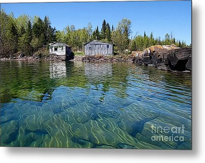 Fish House Reflections On Lake Superior Metal Print by Sandra Updyke