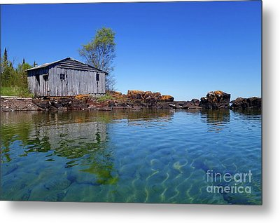 Fish House Reflections Metal Print by Sandra Updyke