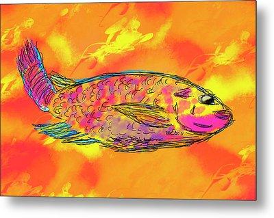 Fish On Orange Metal Print