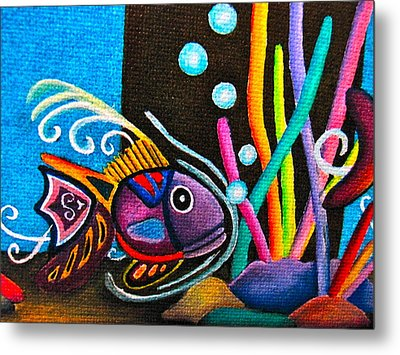 Metal Print featuring the painting Fish On Parade by Lori Miller