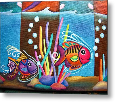 Metal Print featuring the painting Fish On Parade Two by Lori Miller