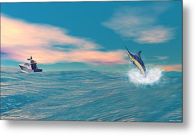 Fish On Metal Print by Walter Colvin