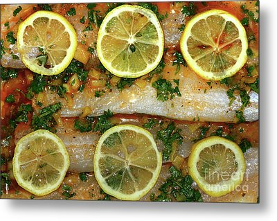Metal Print featuring the photograph Fish With Lemon And Coriander By Kaye Menner by Kaye Menner