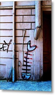 Fishbone Graffiti Metal Print by Ferry Ten Brink