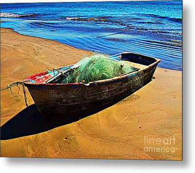 Fisher Boat By Michael Fitzpatrick Metal Print by Mexicolors Art Photography