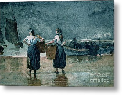 Fisher Girls By The Sea Metal Print