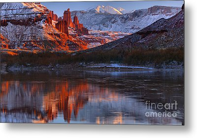 Metal Print featuring the photograph Fisher Towers And La Sal Mountains by Adam Jewell