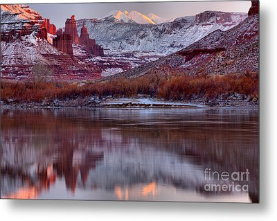 Metal Print featuring the photograph Fisher Towers Fading Sunset by Adam Jewell