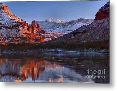 Metal Print featuring the photograph Fisher Towers Glowing Reflections by Adam Jewell