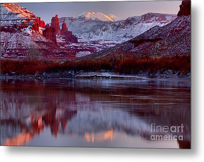 Metal Print featuring the photograph Fisher Towers Landscape Glow by Adam Jewell