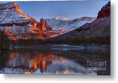 Metal Print featuring the photograph Fisher Towers Sunset Glow Panorama by Adam Jewell