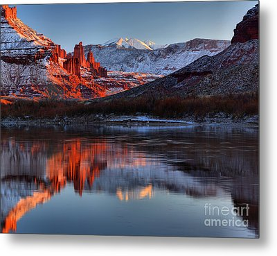 Metal Print featuring the photograph Fisher Towers Sunset On The Colorado by Adam Jewell