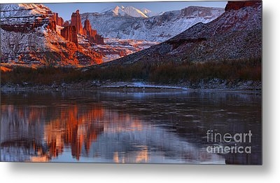 Metal Print featuring the photograph Fisher Towers Sunset Reflection Panorama by Adam Jewell