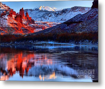 Metal Print featuring the photograph Fisher Towers Sunset Winter Landscape by Adam Jewell